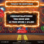4 Freespins Bonus Splash Screen